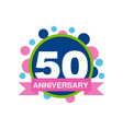 50th anniversary colored logo design happy vector image