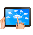 Finger touching cloud vector image