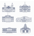 Monuments thin line icons Amsterdam state vector image