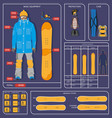 snowboarding winter sport infographics design vector image
