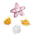 starfish and shell isolated icon vector image