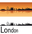 London skyline in orange background vector image