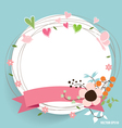 Note paper with ribbon heart and floral bouquets vector image