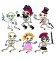 Group of funny skeletons vector image