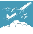 Passenger airplane in the clouds retro background vector image