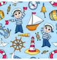 Sailors seamless pattern vector image vector image