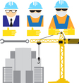 Engineer and workers building scene vector image