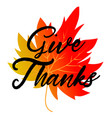 give thanks typography and background design vector image