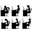 six businesswomen silhouettes vector image