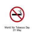 World no tobacco day smoking logo vector image
