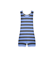 Striped retro swimsuit in blue and black design vector image vector image