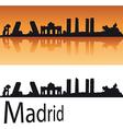 Madrid Skyline in orange background vector image vector image