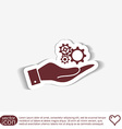 hand holding a cogwheel icon setting and repair vector image