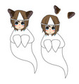cat ears girl ghost crying vector image