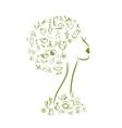 Female head spa concept for your design vector image