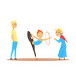 girl doing gymnastics dance with hoop before happy vector image