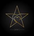 original Gold star with heart made of thin lines vector image