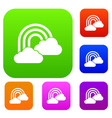 rainbow and clouds set collection vector image