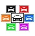 set colorful icon with taxi car vector image