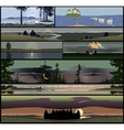 Set of 8 seamless panoramical landscapes vector image