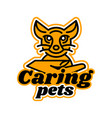 logo on the subject of caring for pets kitten vector image
