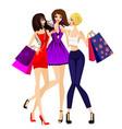 three girls shopping vector image
