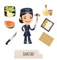 Female Sushi Chef Icons Set vector image