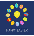 Colored Easter egg set round frame and chicken vector image