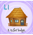 Flashcard of L is for lodge vector image