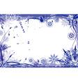 winter grunge floral frame vector image