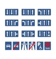 Set of different blue road signs on white vector image