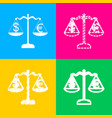 justice scales with currency exchange sign four vector image