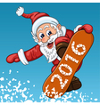 Santa Claus makes jump on the snowboard vector image