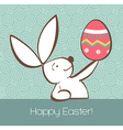 Easter bunny with painted egg vector image