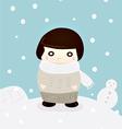 girl in winter snow cute season greeting vector image
