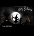 halloween background with a little girls vector image