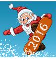 Santa Claus makes jump on the snowboard vector image