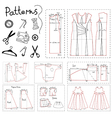 Set of patterns of women clothes and sewing vector image