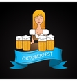Linear icon with cute Bavarian waitress dressed in vector image