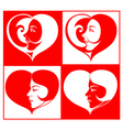 Beautiful Girl Face in Heart Shape vector image