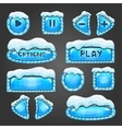 Winter light blue buttons with snow vector image