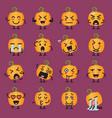 halloween pumpkin emoji set vector image