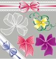 Set of different colors lace bows - for holidays vector image vector image