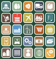 Supply chain flat icons on green background vector image
