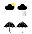 sun and rain with clouds and umbrellas vector image