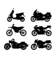 Set of black silhouettes of motorcycles vector image