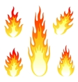 Burning fire and flame set isolated on white vector image