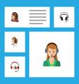 flat icon telemarketing set of secretary vector image