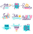 hello summer june july doodle handdrawn vector image