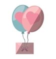 mail flying balloons with heart love design vector image